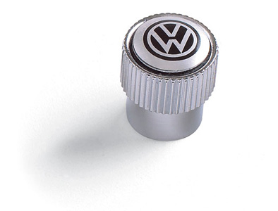 2015 Volkswagen Jetta Valve stem cap -black VW on silver ZVW-355-005-A